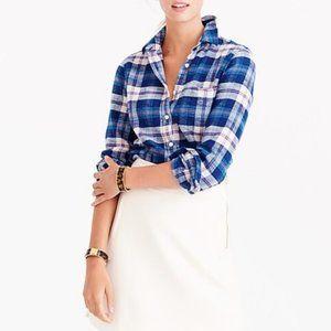 J. Crew Plaid Flannel Button Down Blue Shirt Sz 0